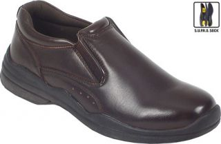Mens Deer Stags Goal   Dark Brown Leather Slip on Shoes