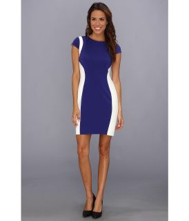 Ivy & Blu Maggy Boutique Cap Sleeve Colorblock Sheath Dress Womens Dress (Blue)