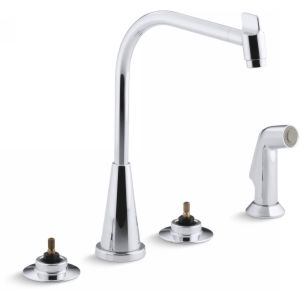 Kohler K 7779 K CP Triton Two Handle Kitchen Faucet with Sidespray