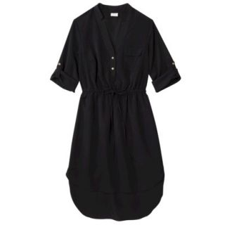 Merona Womens Drawstring Shirt Dress   Black   M