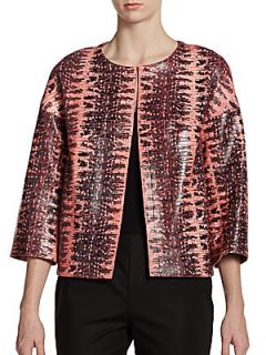 Snake Embossed Leather Jacket   Bellini