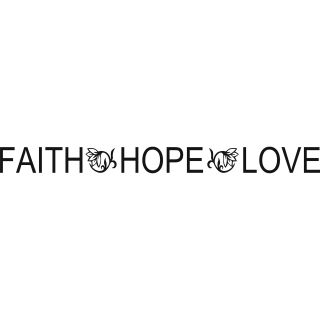 Faith Hope Love Vinyl Art Quote (MediumSubject OtherMatte Black vinylDimensions 36 inches long x 3 inches high x 1/16 inches wide )