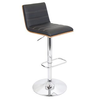 Vasari Bent Wood Adjustable Barstool (Walnut Wood with black seat and tan stitchingMaterials Wood, PU, foam padding, chromeHardware finish Chrome footrest, base and poleNumber of Stools OneSeat Height 27.25 to 32 inchesSeat Width 14.75 inches wideSea