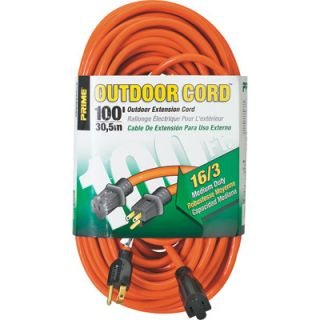Prime Wire & Cable 125 Volt Outdoor Extension Cord   100ft., 16/3, Model#