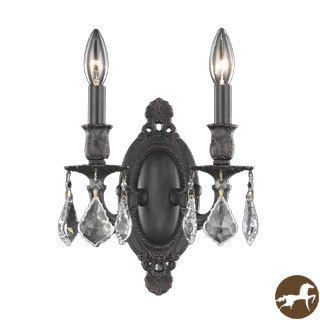 Christopher Knight Home Aubonne 2 light Royal Cut Crystal/ Antique Bronze Wall Sconce (Crystal and aluminumFinish Dark bronzeNumber of lights Two (2)Requires two (2) 60 watt max bulb (not included)Bulb type E12, 110V 125VDimensions 9 inches length x 9