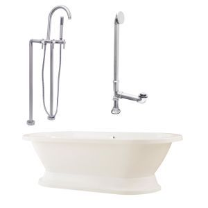 Giagni LC2 BN Capri Tub with Plinth, Drain, Supply Lines, & Floor Mount Faucet w