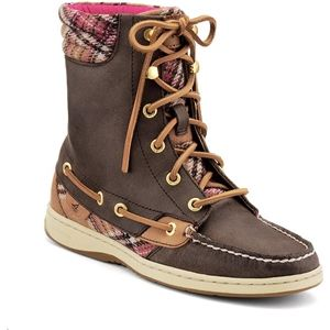 Sperry Top Sider Womens Hikerfish Brown Wool Plaid Boots   9531369