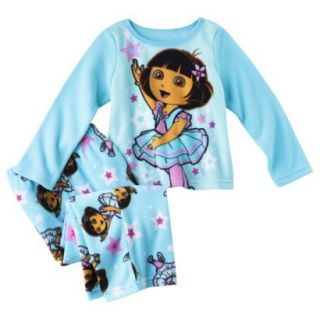 Dora the Explorer Infant Toddler Girls 2 Piece Pajama Set   Blue 2T