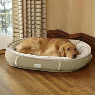 Faux fur Ultimate Wraparound Dog Bed With Memory Foam / Large Dogs 50 80 Lbs., Tan,