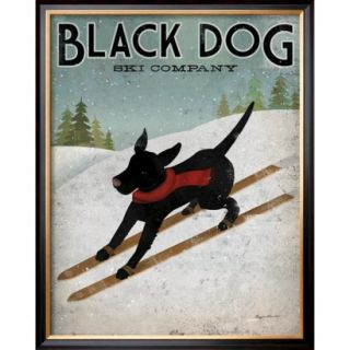 Art   Black Dog Ski Framed Print