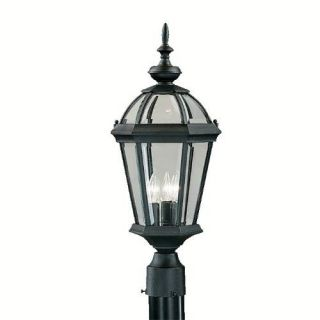 Kichler 9951BK Outdoor Light, Classic (Formal Traditional) Post Mount 3 Light Fixture Black (Painted)