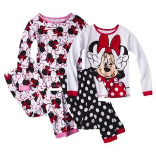 Disney Minnie Mouse Girls 4 Piece Long Sleeve Pajama Set   Red/White 8