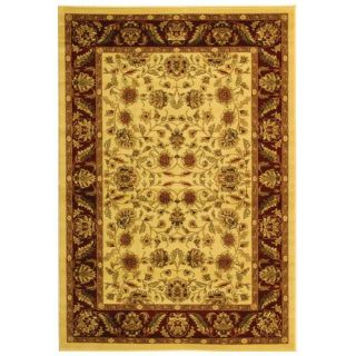 Lyndhurst Collection Tabriz Ivory/ Red Rug (4 X 6)
