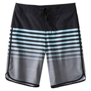 Mossimo Supply Co. Mens 11 Board Shorts   Black/Blue Stripe 28
