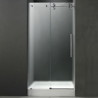 Vigo Industries VG6041STMT60RWS Shower Door, 60 Frameless 3/8 Right w/White Base Center Drain Frosted/Stainless Steel