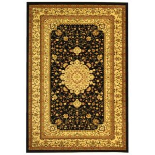 Lyndhurst Collection Mashad Black/ Ivory Rug (9 X 12)