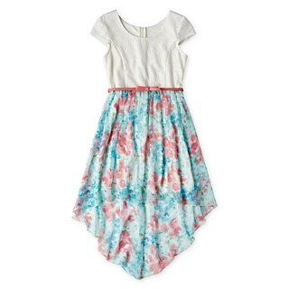 Disorderly Kids Belted, High Low Dress   Girls 6 16 and Plus, Blue, Girls