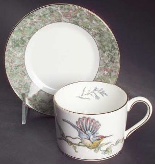 Wedgwood Humming Birds Flat Cup & Saucer Set, Fine China Dinnerware   Bone, Marb