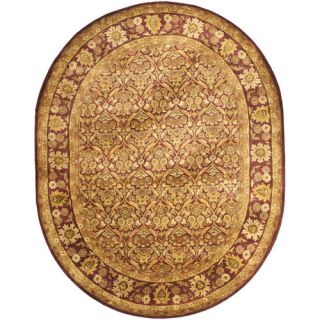 Safavieh Antiquities Garden Panel Wine/Gold Rug AT51A Rug Size Oval 76 x 96