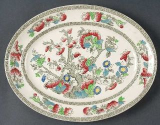 Johnson Brothers Indian Tree (Green Key, Cream) 10 Oval Serving Platter, Fine C