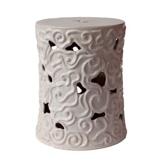 Urban Trends Collection White Ceramic Garden Stool (16 inches deep x 19 inches highModel 70628For decorative purposes onlyDoes not hold water CeramicSize 16 inches deep x 19 inches highModel 70628For decorative purposes onlyDoes not hold water)