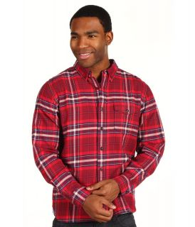Lucky Brand Banbury Plaid Shirt Mens Long Sleeve Button Up (Red)