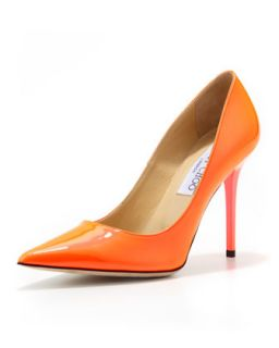 Womens Abel Patent Point Toe Pump, Neon Flame   Jimmy Choo