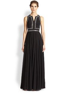 Rebecca Taylor Slit Neck Silk Gown   Black