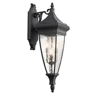 Kichler 49135BKG Outdoor Light, Classic (Formal Traditional) Wall Lantern 4 Light Fixture Black with Gold