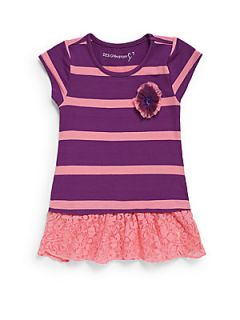 Toddlers & Little Girls Striped Lace Ruffle Dress