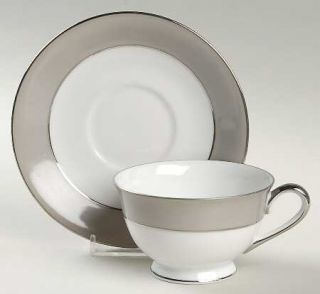 Sango Platina San (White W/Gray Color Band) Footed Cup & Saucer Set, Fine China
