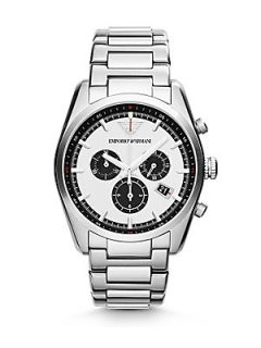 Emporio Armani Stainless Steel Chronograph Watch   Silver