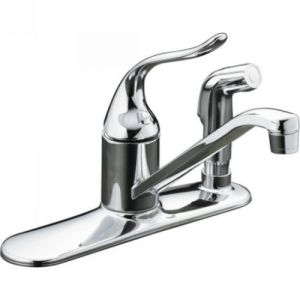 Kohler K 15173 F CP Coralais Single Handle Kitchen Faucet with Sidespray in Escu