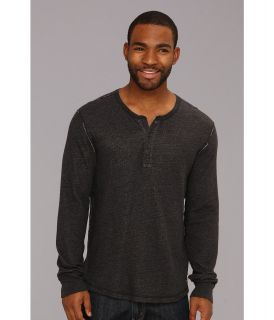 Lucky Brand Double Fabric Contrast Henley Mens Long Sleeve Pullover (Black)