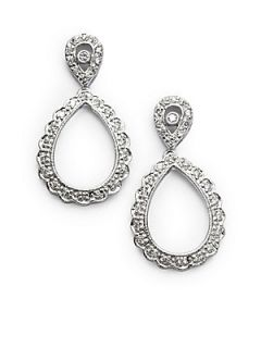 Diamond & 14K White Gold Scalloped Teardrop Earrings   White Gold