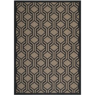Safavieh Indoor/ Outdoor Courtyard Brown/ Black Rug (67 X 96)