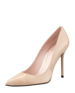 Womens Nouveau Patent Point Toe Pump, Adobe   Stuart Weitzman