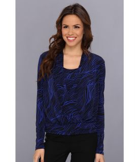 Anne Klein Mane Print Cowl Neck Top Womens Long Sleeve Pullover (Blue)
