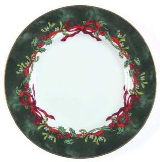 Royal Worcester Holly Ribbons Green Salad Plate, Fine China Dinnerware   Garrick