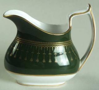 Spode Royal Windsor Creamer, Fine China Dinnerware   Gold Line/Dot Decor On Gree