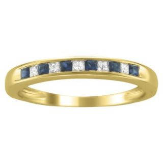 1/3 CT.T.W. Diamond and Sapphire Band Ring in 14K Yellow Gold   Size 6.5