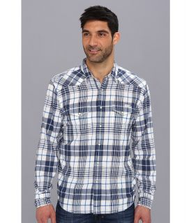 Lucky Brand Hammonds Plaid Western Mens Long Sleeve Button Up (Blue)