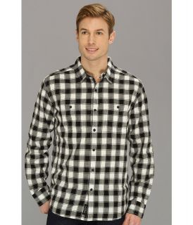 Lucky Brand Barmouth Plaid 2 Pocket Mens Long Sleeve Button Up (Black)