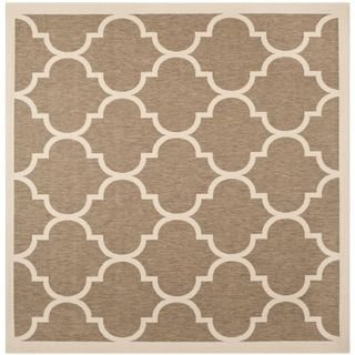 Safavieh Indoor/ Outdoor Courtyard Brown/ Bone Rug (4 Square)
