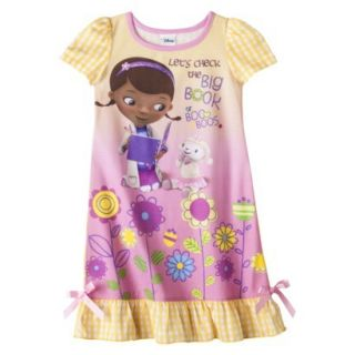 Doc McStuffins Toddler Girls Short Sleeve Nightgown   Yellow 3T