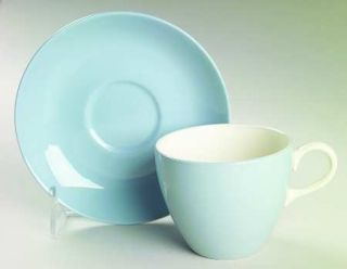 Wedgwood Summer Sky Blue & White Flat Cup & Saucer Set, Fine China Dinnerware