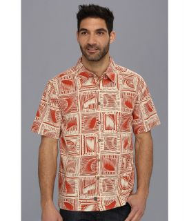 Quiksilver Waterman Peahi S/S Shirt Mens Short Sleeve Button Up (Orange)