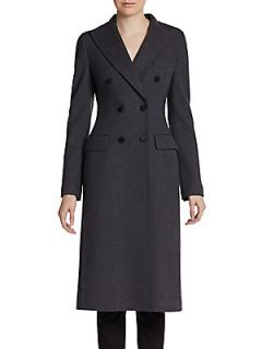 Virgin Wool Double Breasted Coat   Charcoal