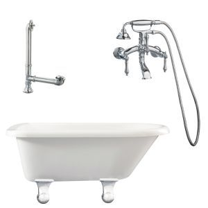 Giagni LB1 PC Brighton Roll Top Tub with Cannonball Feet, Drain, & Wall Mount Fa