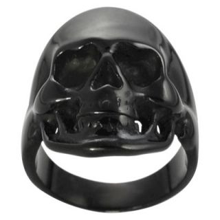 Daxx Mens Black Stainless Steel Skull Ring   Black 12